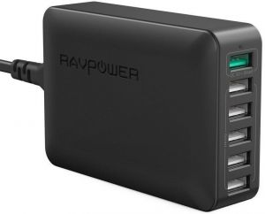 Сетевое зарядное устройство (12A, 60W) RAVPower Qualcomm Quick Charge 3.0 6-Port USB Charging Station with iSmart Technology Black (RP-PC029BK)