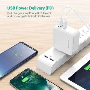 Сетевое зарядное устройство RAVPower 45W AC + PD + QC3.0 2-Port Wall Charger (EU) White (RP-PC081WH)