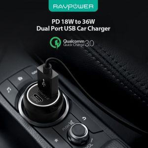Автомобильное зарядное устройство RAVPower PD 18W 36W Total Output Car Charger Black (RP-PC091)