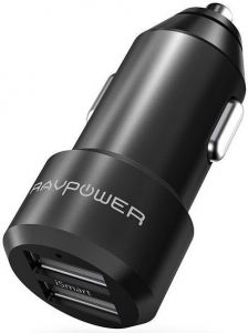 Автомобильное зарядное устройство RAVPower Metal Dual USB Car Charger 24W 4.8A with iSmart 2.0 Charging Tech Black (RP-VC006BK)