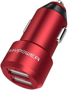 Автомобильное зарядное устройство RAVPower Metal Dual USB Car Charger 24W 4.8A with iSmart 2.0 Charging Tech Red (RP-VC006RD)