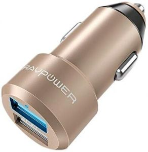 Автомобильное зарядное устройство RAVPower Metal Dual USB Car Charger 24W 4.8A with iSmart 2.0 Charging Tech Gold (RP-VC006GD)