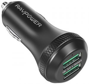 Автомобильное зарядное устройство RAVPower Qualcomm Quick Charge 3.0 36W Dual USB Car Charger Black (RP-VC007)
