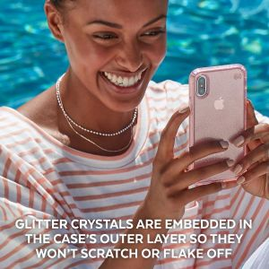 Чехол для iPhone XR (6.1'') Speck PRESIDIO CLEAR + GLITTER - CLEAR WITH GOLD GLITTER/CLEAR (SP-117068-5636)