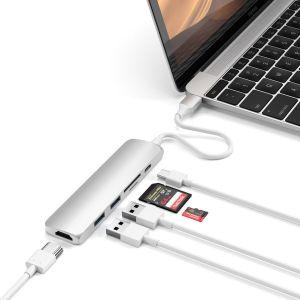 Переходник Satechi Aluminum Type-C Slim Multi-Port Adapter 4K V2 Silver (ST-SCMA2S)