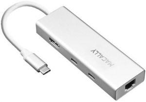 Адаптер Macally Aluminium USB-C Multiport Hub Silver (UCDOCK)