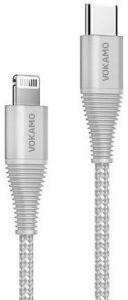 Прочный кабель Type-C to Lightning (1.2 м, 18W, MFi) Vokamo Luxlink Series Gray (VKM20056)