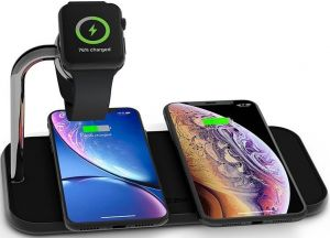 Беспроводное зарядное устройство (10W+10W) Zens Dual Aluminium Wireless Charger + Apple Watch Black (ZEDC05B/00)