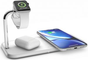 Беспроводное зарядное устройство (10W+10W) Zens Dual Aluminium Wireless Charger + Apple Watch White (ZEDC05W/00)