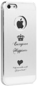 Металлический чехол iBacks Cameo European Happiness for iPhone 5/5S/SE Silver