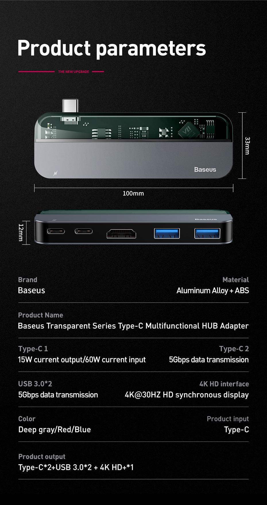 Переходник Baseus Transparent Series Type-C Multifunctional HUB Adapter