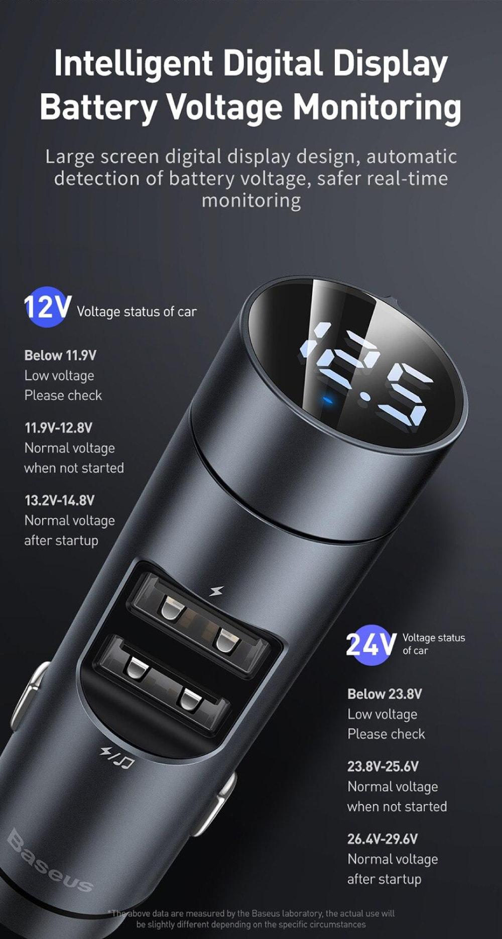 Автомобильное зарядное устройство с FM-модулятором Baseus Energy Column Car  Wireless MP3 Charger (Wireless 5.0+5V/3.1A) Dark grey (CCNLZ-0G) купить  Киев, Одесса, Днепр, Харьков, Львов | Touch-it.com.ua